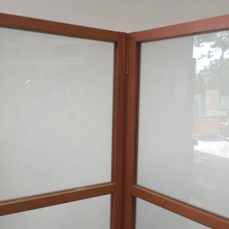 Glass Contemporary Three-Panel Maple Screen For Sale