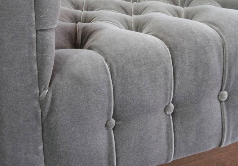 Oversized Milo Baughman Tufted Lounge Chairs in Smoky Gray Mohair 5