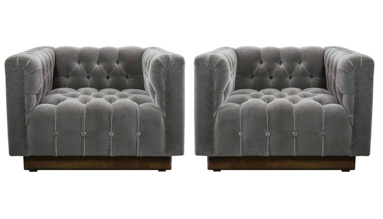 Oversized Milo Baughman Tufted Lounge Chairs in Smoky Gray Mohair 2