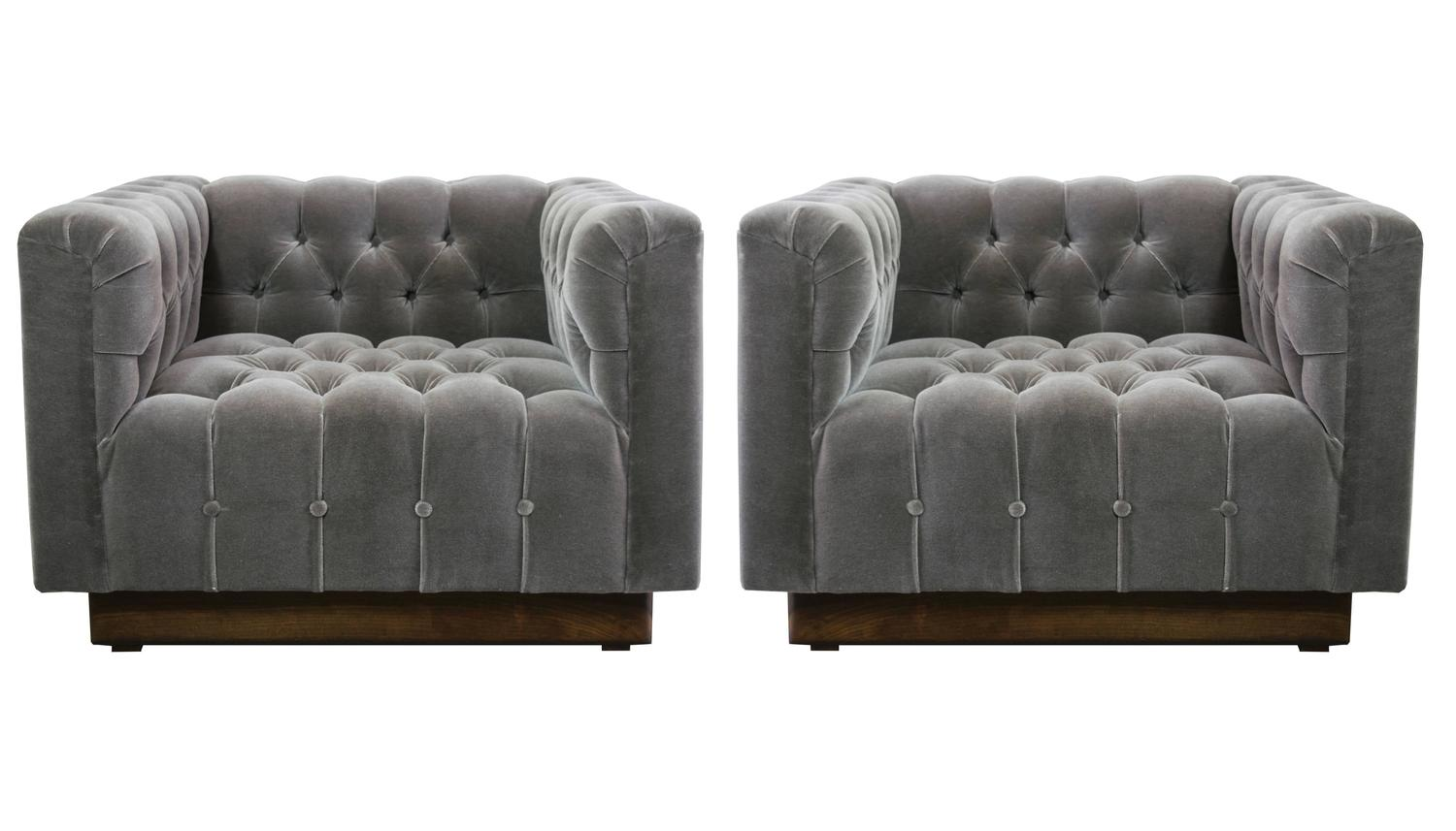 Oversized Milo Baughman Tufted Lounge Chairs In Smoky Gray