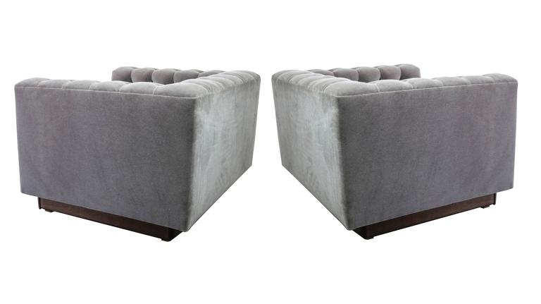 Oversized Milo Baughman Tufted Lounge Chairs in Smoky Gray Mohair 3