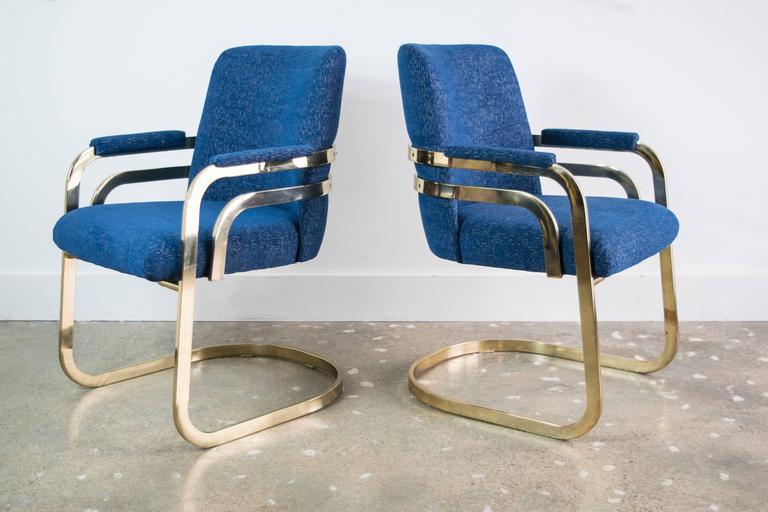Good Set Of Four Chromcraft Sculptural Brass Dining Chairs 2