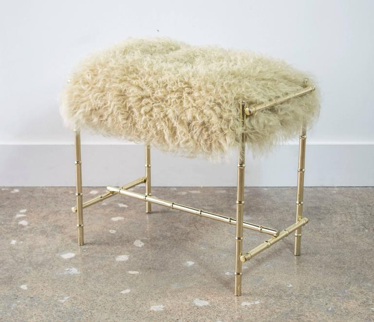 Mid-Century Brass and Sheepskin Faux Bamboo Vanity Stool 2