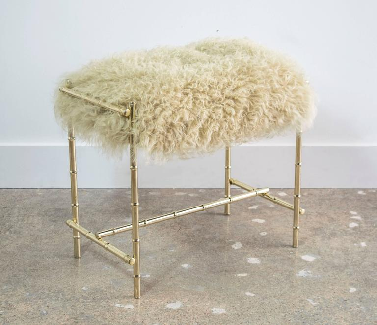 Mid-Century Brass and Sheepskin Faux Bamboo Vanity Stool 3