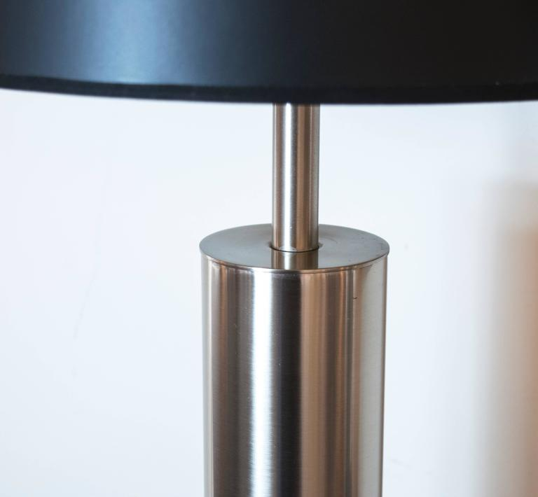 Mid Century Modern Laurel Brushed Steel Cylinder Lamps At