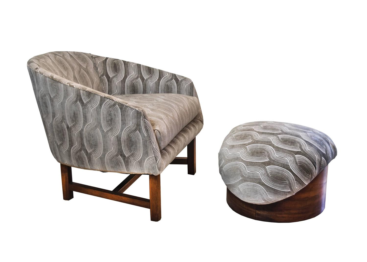 mid century modern reading chair and ottoman for sale at 1stdibs. Black Bedroom Furniture Sets. Home Design Ideas