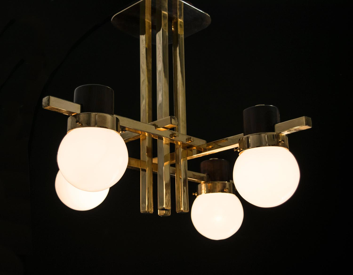 Mid Century Brass Chandelier with Teak Fittings at 1stdibs