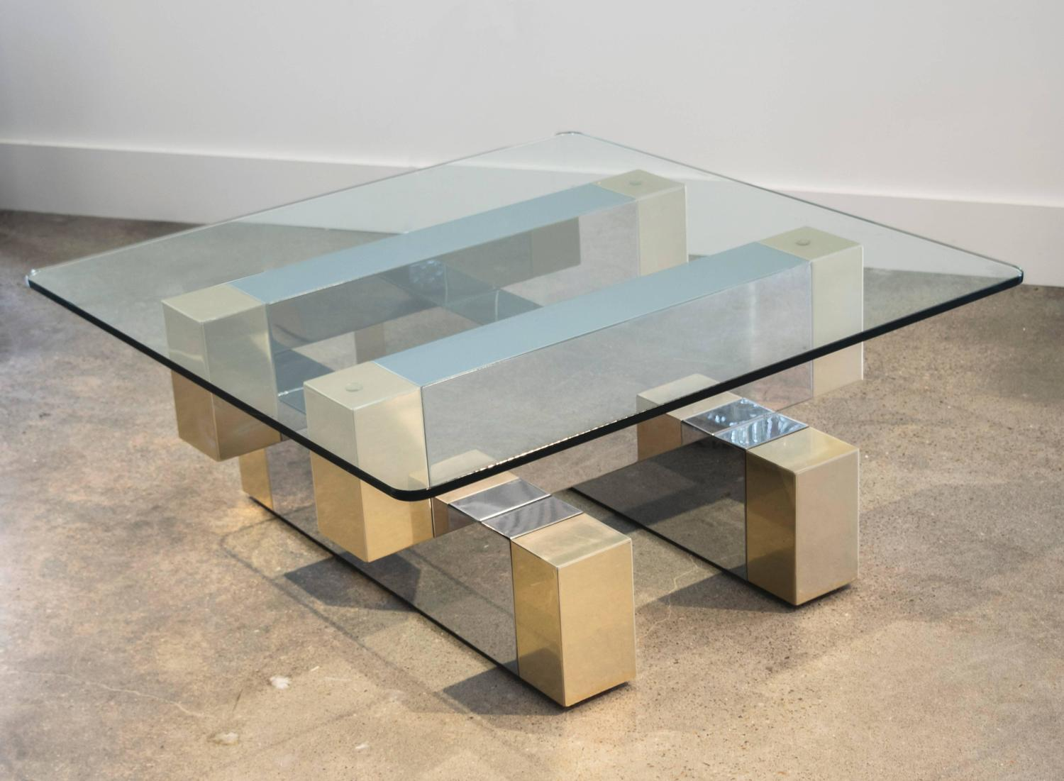 Two Tone Coffee Table In The Style Of Paul Evans Cityscape For Sale At 1stdibs