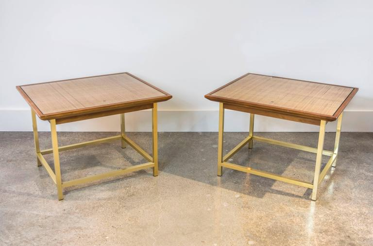 Mid-Century Modern Brass, Cane and Walnut End Tables by Kipp Stewart for Drexel For Sale