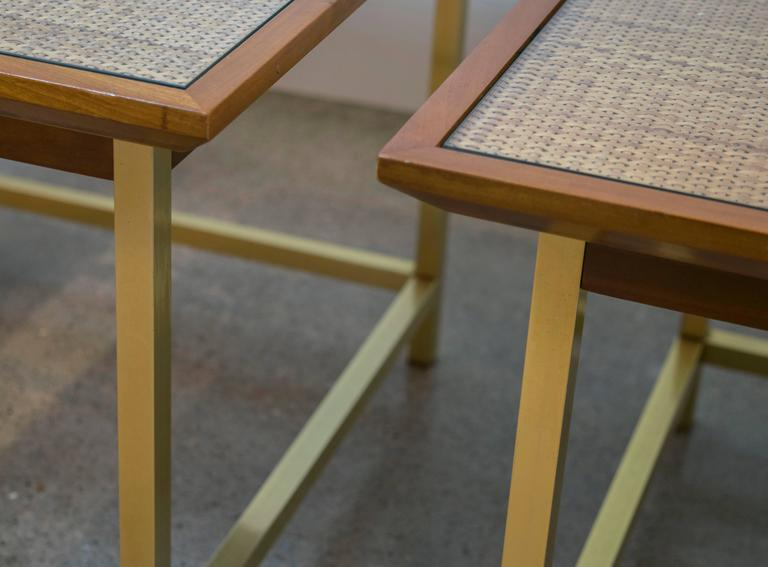 Brass, Cane and Walnut End Tables by Kipp Stewart for Drexel In Excellent Condition For Sale In Houston, TX