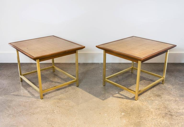 American Brass, Cane and Walnut End Tables by Kipp Stewart for Drexel For Sale