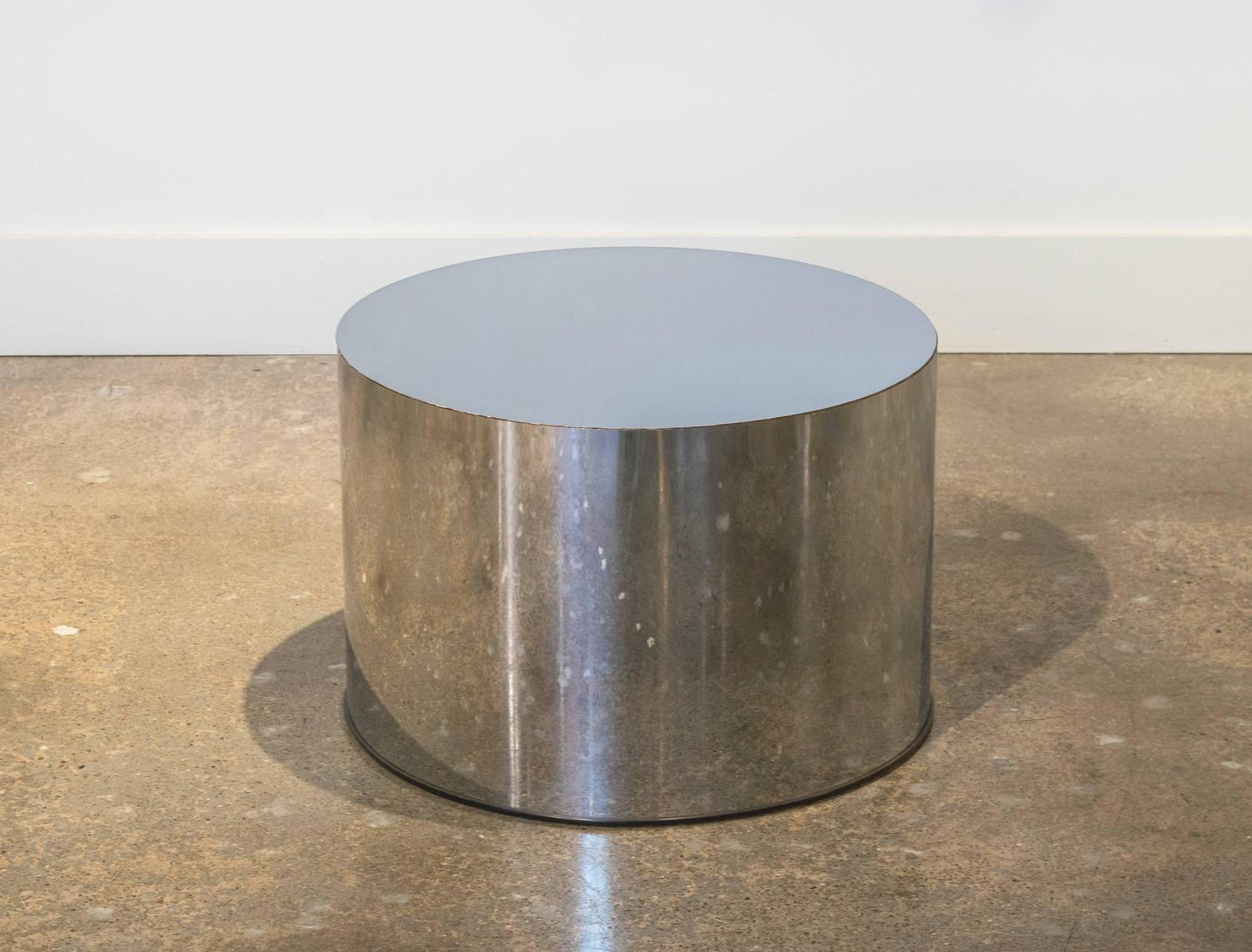 Milo Baughman For Thayer Coggin Steel Drum And Octagon Shaped Glass Coffee Table For Sale At 1stdibs