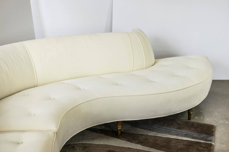 High Glam Two Piece 1950s Serpentine Sofa In The Style Of