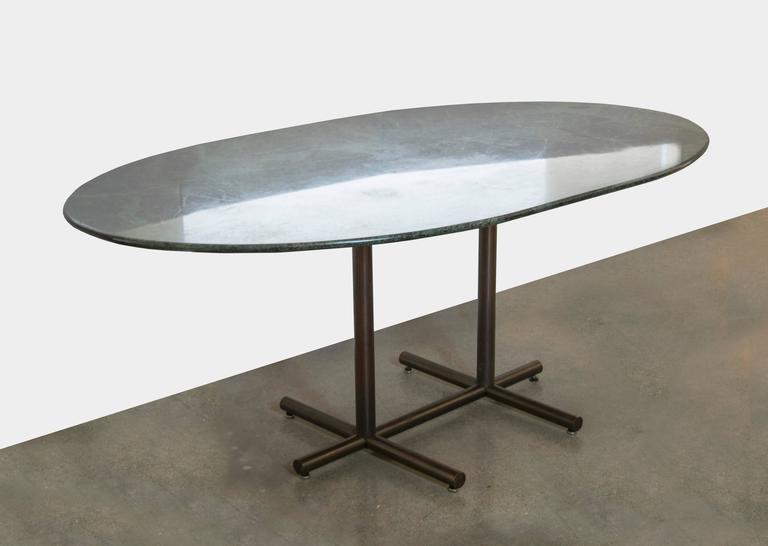 Vintage Dark Green Marble Dining Table Desk For Sale At