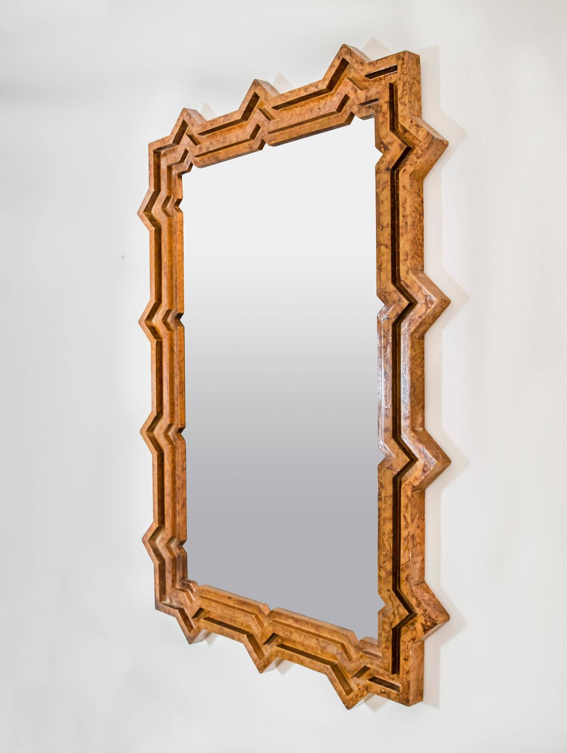 1960s faux tortoise finish extra large brutalist mirror for Extra large mirrors