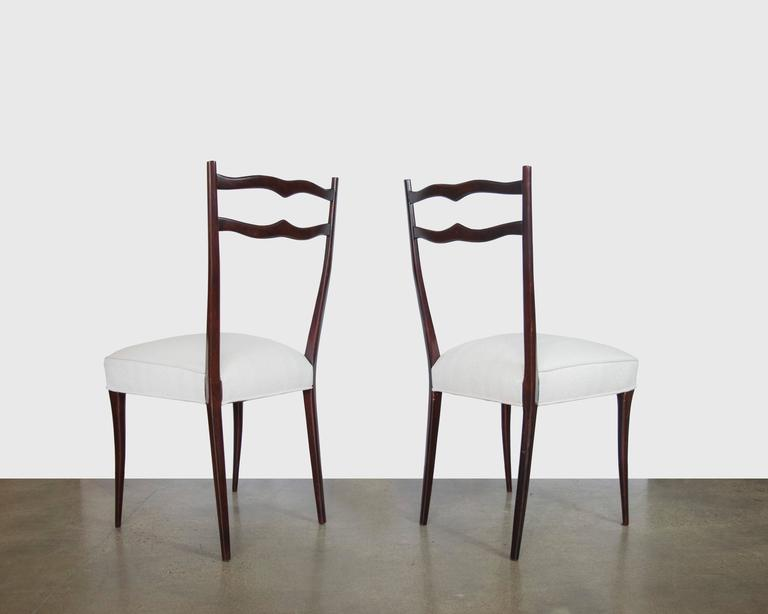 Mid-20th Century Set of Six Italian Mid-Century Dining Chairs in the Style of Ico Parisi For Sale