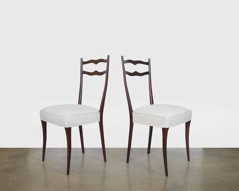 Mid-Century Modern Set of Six Italian Mid-Century Dining Chairs in the Style of Ico Parisi For Sale