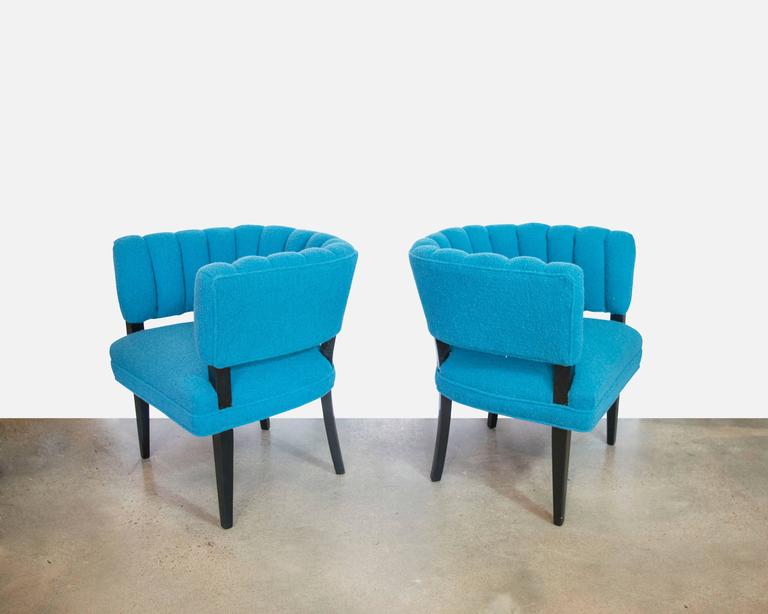 Hollywood Regency Club Chairs With Channel Tufting In Teal