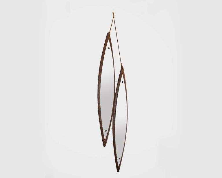 Mid-Century Modern Midcentury Italian Double Diamond Duo Mirror in Rosewood For Sale
