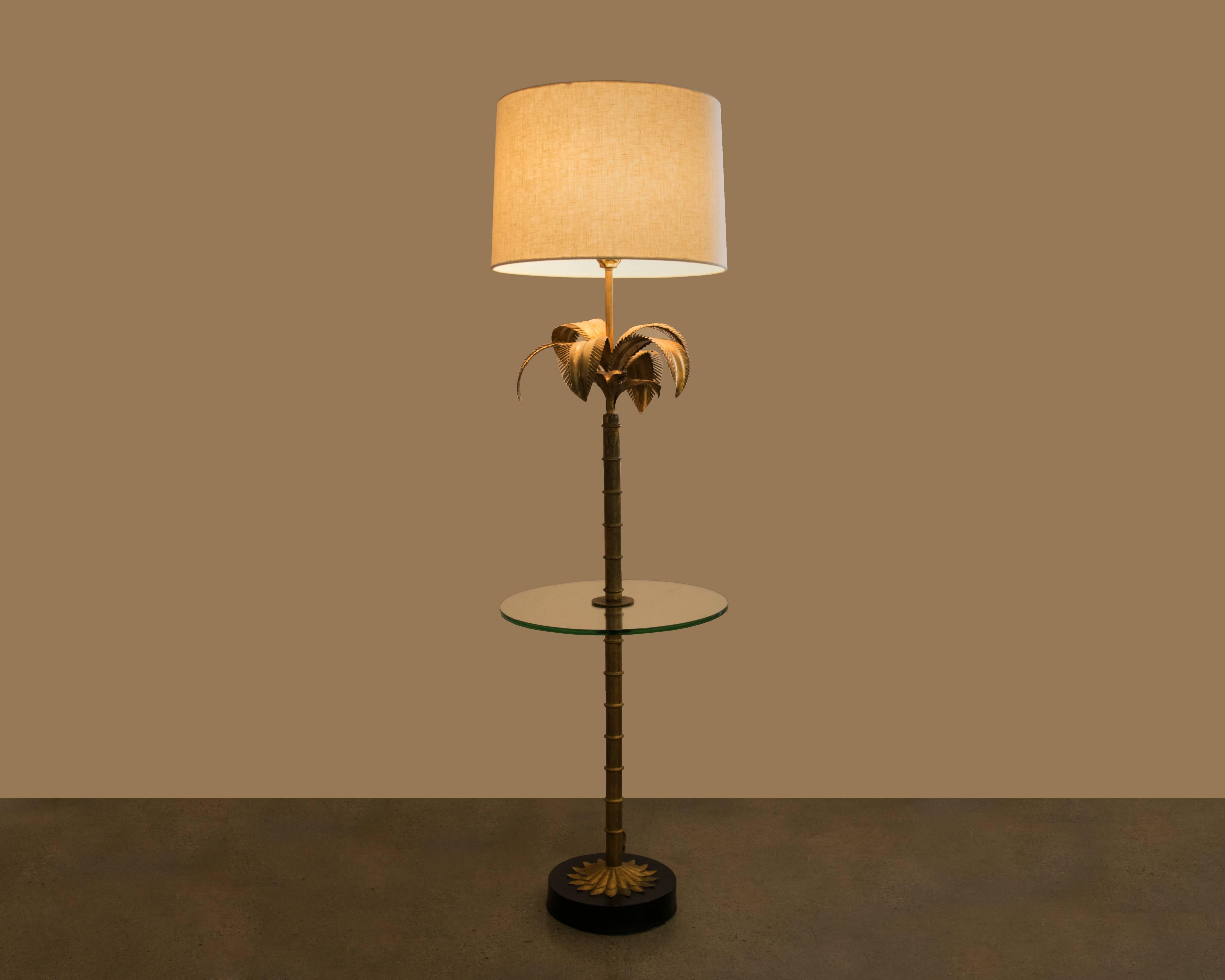 Hollywood Regency Gilded Palm Floor Lamp/Table Combo 2