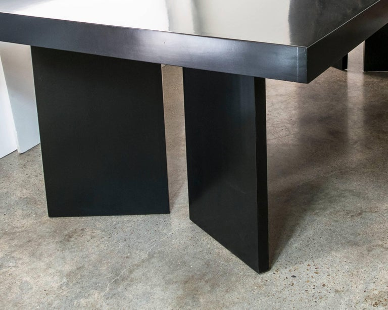 Custom 1950s Ebonized Mahogany Table in the Style of James Mont In Excellent Condition For Sale In Houston, TX