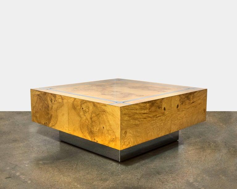 Milo Baughman Burl and Chrome Square Coffee Table 2