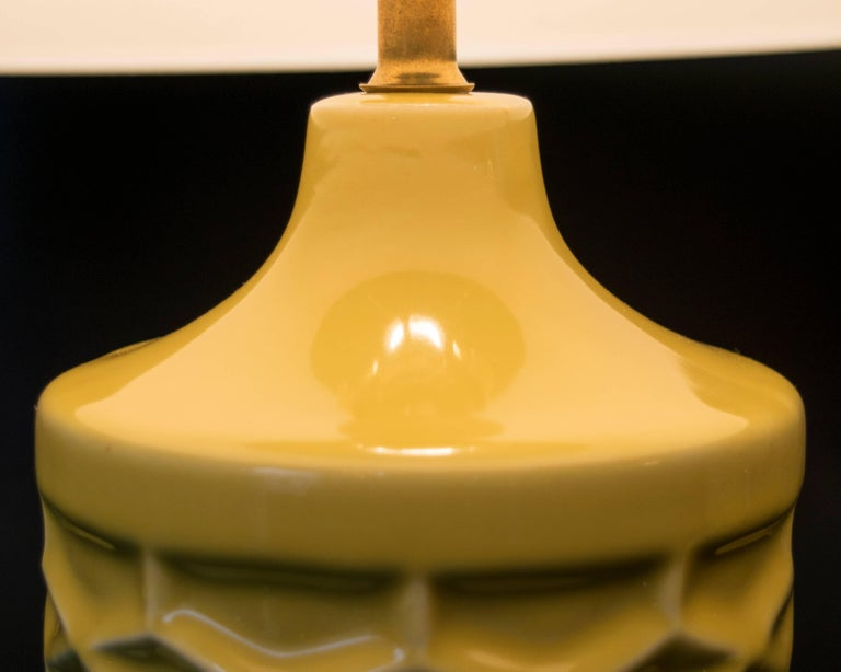 American Pair of Yellow Ceramic Honeycomb Lamps For Sale