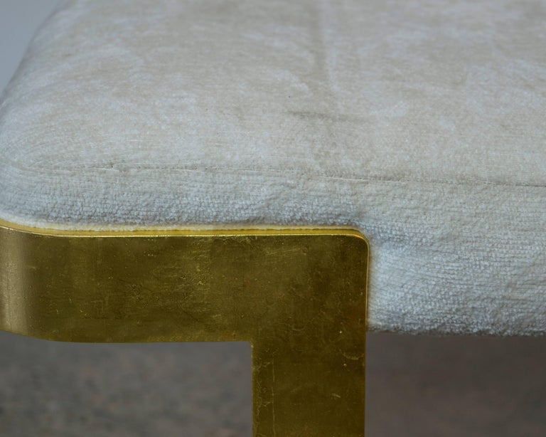 Late 20th Century White and Gold Gilt Metal Bench in the Style of Milo Baughman For Sale
