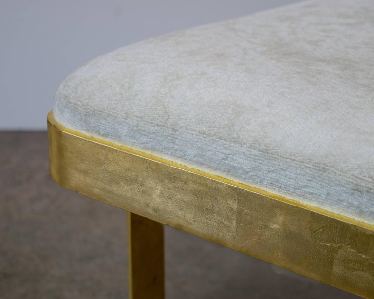 American White and Gold Gilt Metal Bench in the Style of Milo Baughman For Sale