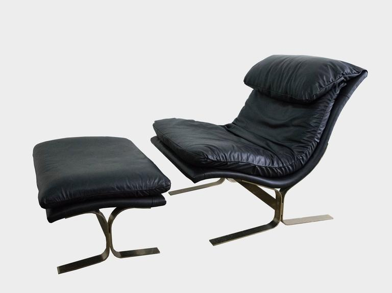 Leather and Brass Lounge Chair and Ottoman by Lane at 1stdibs