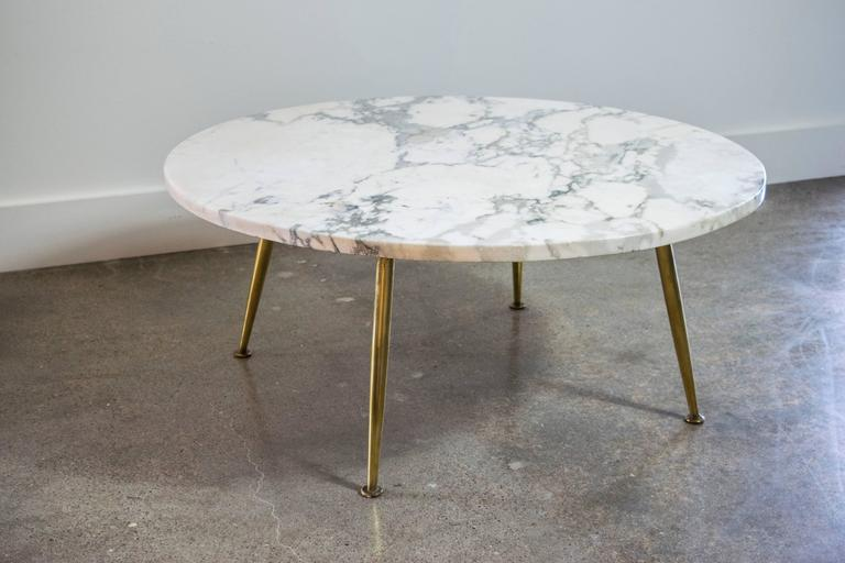 Italian Carrara Marble Coffee Table with Brass Legs 2 - Italian Carrara Marble Coffee Table With Brass Legs At 1stdibs