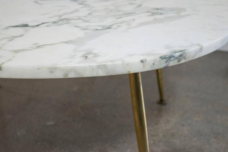 Italian Carrara Marble Coffee Table with Brass Legs at 1stdibs