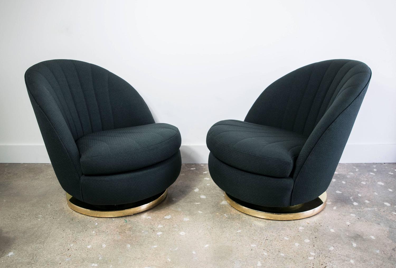 Milo Baughman Brass Swivel Club Chairs With Black