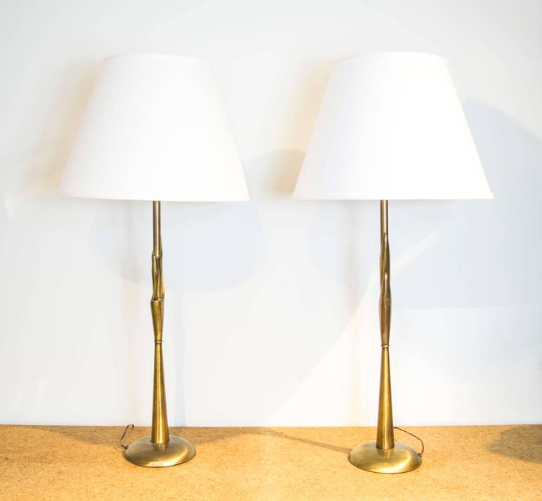 Rembrandt torchiere lamps with antique brass finish for sale at 1stdibs extra tall table lamps by rembrandt with an antique brass finish aloadofball Gallery