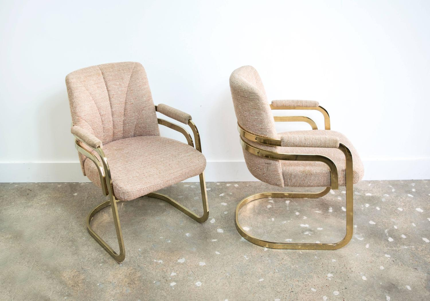 Set of four chromcraft sculptural brass dining chairs for sale at 1stdibs - Chromcraft dining room furniture ...