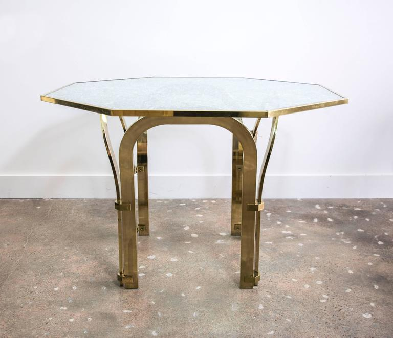 Octagonal Brass Dining Table with Custom Glass in the  : 7l from www.1stdibs.com size 768 x 661 jpeg 48kB