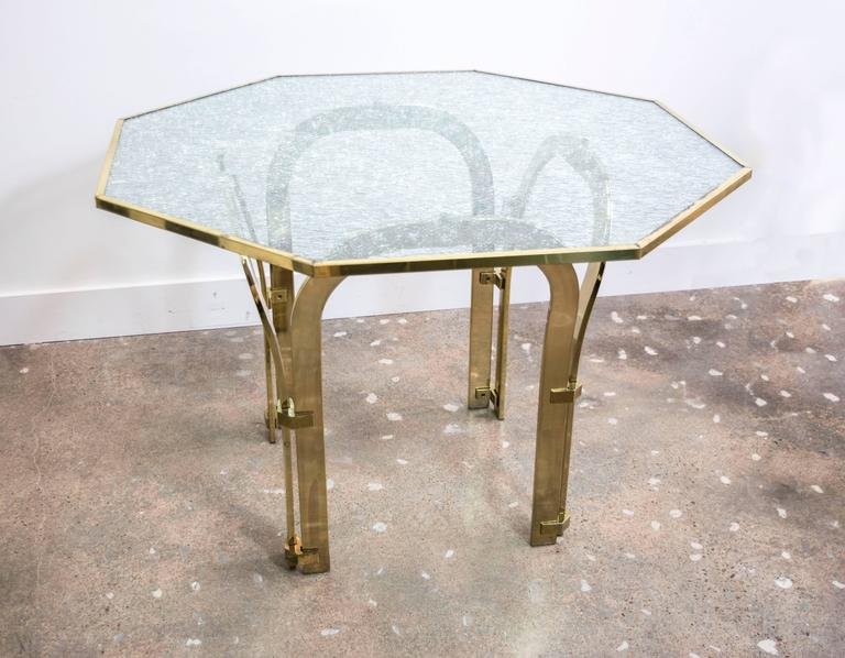 Octagonal Brass Dining Table with Custom Glass in the  : 8l from www.1stdibs.com size 768 x 598 jpeg 57kB