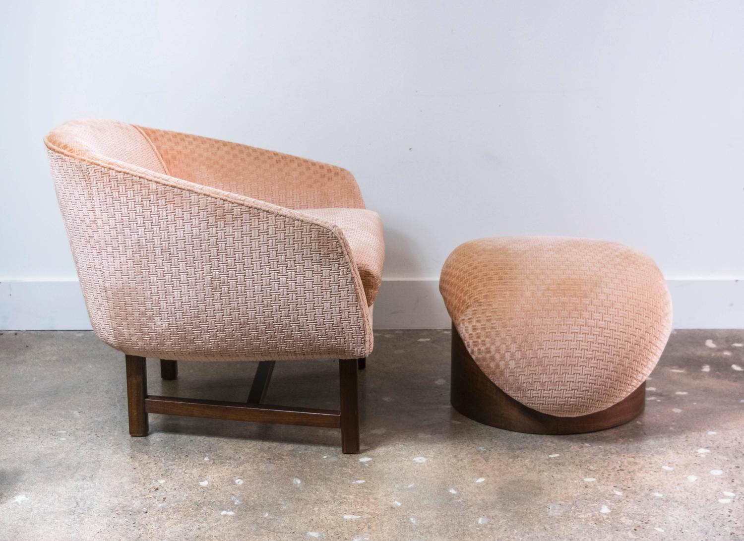 Mid century modern reading chair and ottoman for sale at 1stdibs