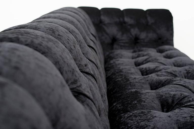 Hollywood Regency Chesterfield in Black Velvet with Brass Base In Excellent Condition For Sale In Houston, TX