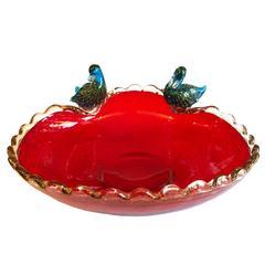 Archimede Seguso Murano Aventurine Pulegoso Glass Duck Bowl