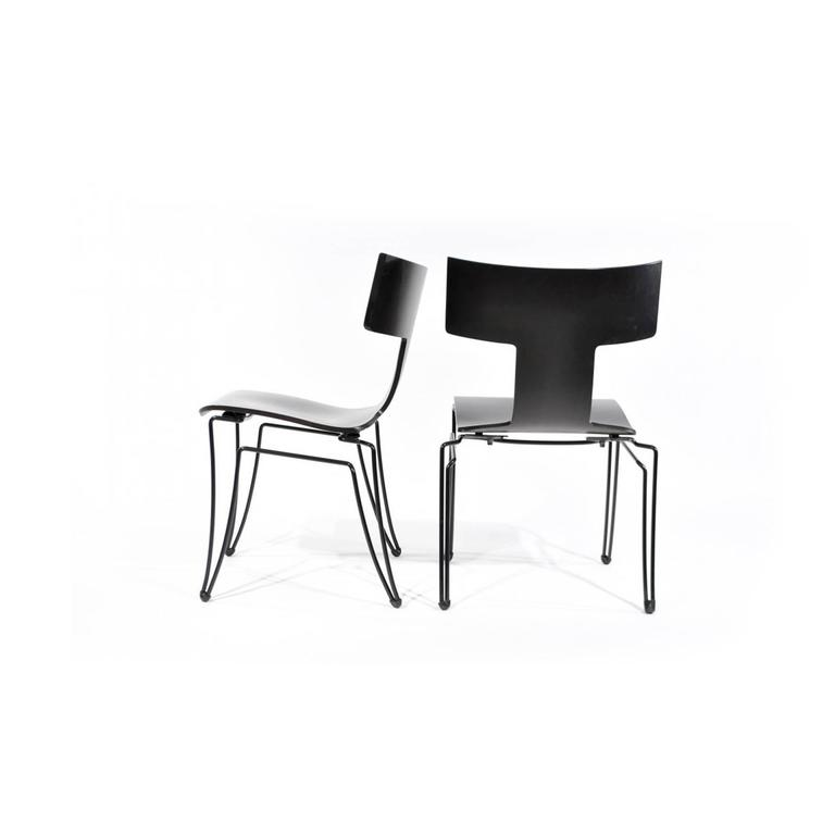 Iconic Anziano chairs by John Hutton for Donghia. The chairs have been refinished and are in mint condition.