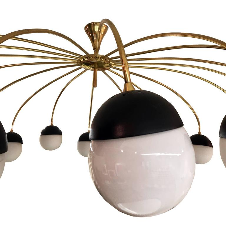 Lacquered Stilnovo Style Italian Chandelier, 1960s For Sale