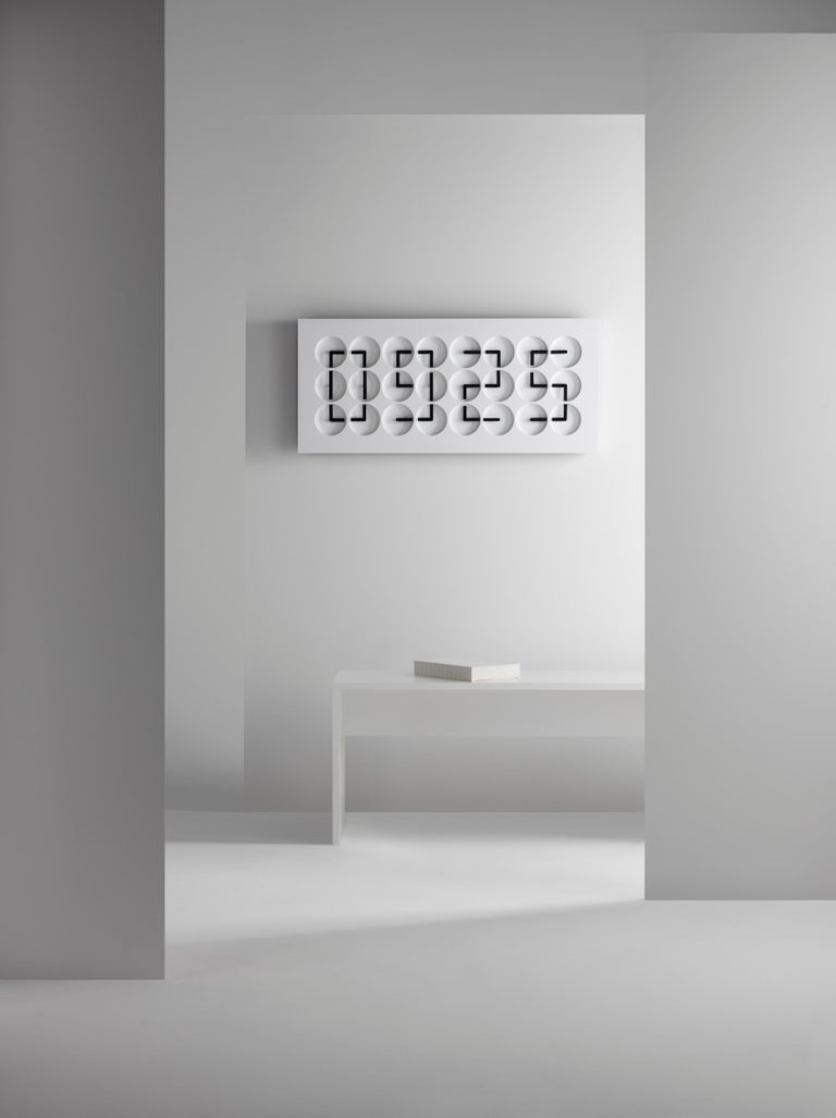 Swedish ClockClock 24 'White' Kinetic Wall Sculpture by Humans Since, 1982 For Sale