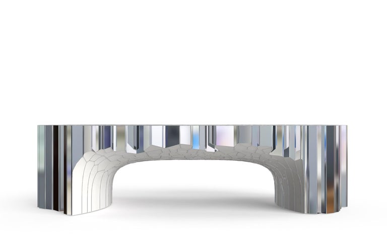 Chinese Rectangular Coffee Table (MY Collection) by Michael Young Stainless Steel Enamel For Sale