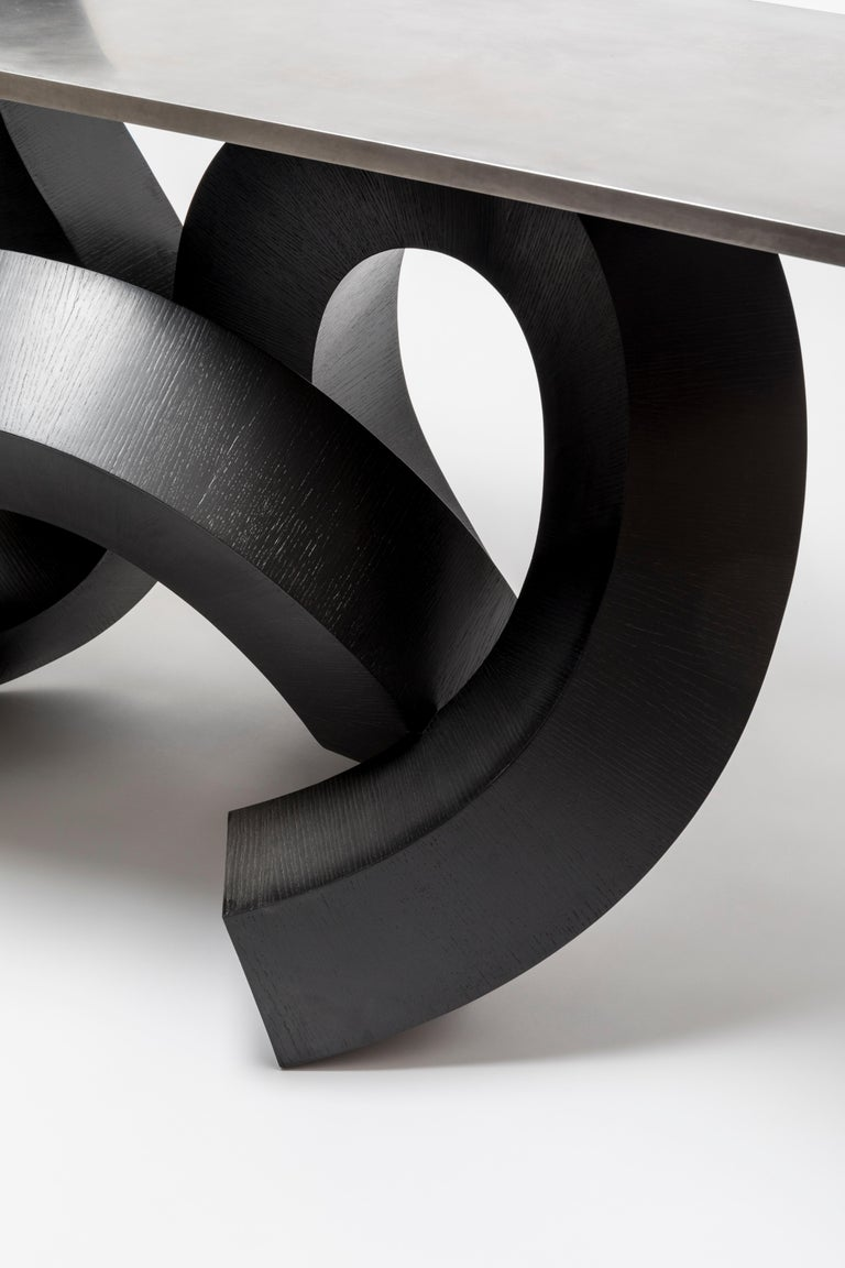 Contemporary Dragon Console Table or Hallway Table Black Dyed Plywood and Aluminium For Sale