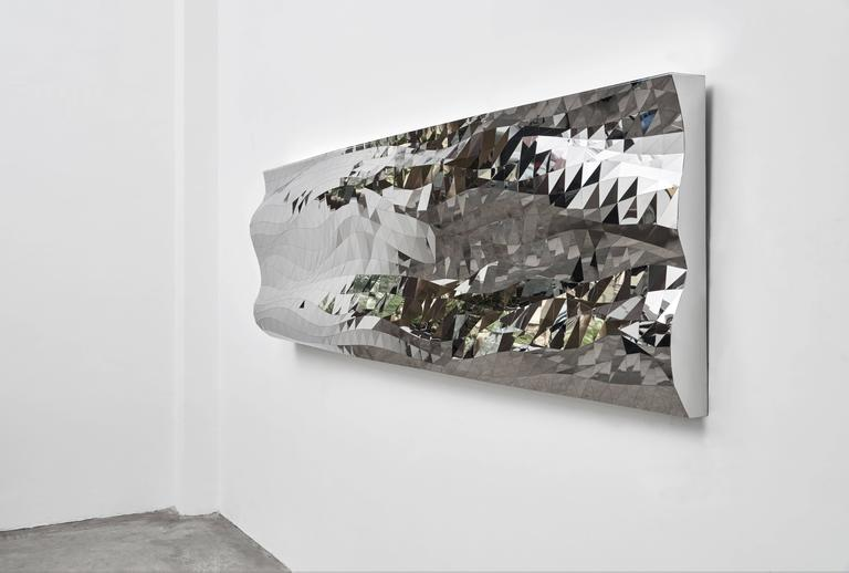 Mashing Mesh Object #MS-1 Stainless Steel Wall Mirror Decoration Sculpture In New Condition For Sale In Beverly Hills, CA