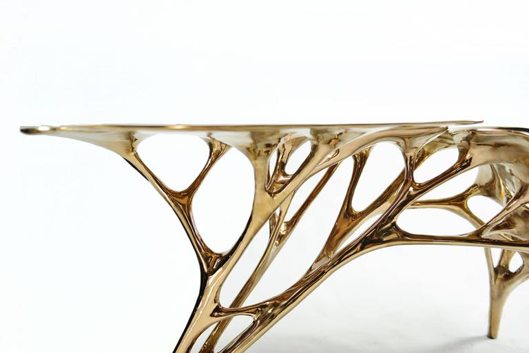 Lotus Console Table in Rose Gold Color Finish 3