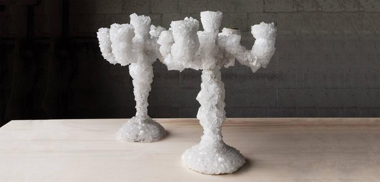 This world is cluttered with stuff, how would the world look like a few thousand years from now? Overgrown is a series of chandeliers and candlesticks that appear to be relics from that desolate flooded world. Atelier Mark Sturkenboom uses a mineral