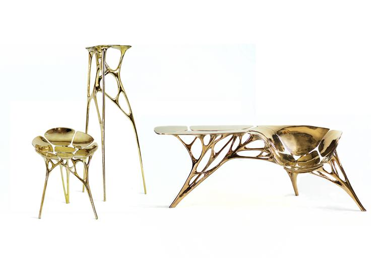 Contemporary Polished Brass Lotus Console Table/Telephone Table/Entryway Table in Gold Color For Sale