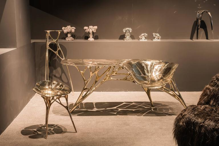 Bronze Polished Brass Lotus Console Table/Telephone Table/Entryway Table in Gold Color For Sale